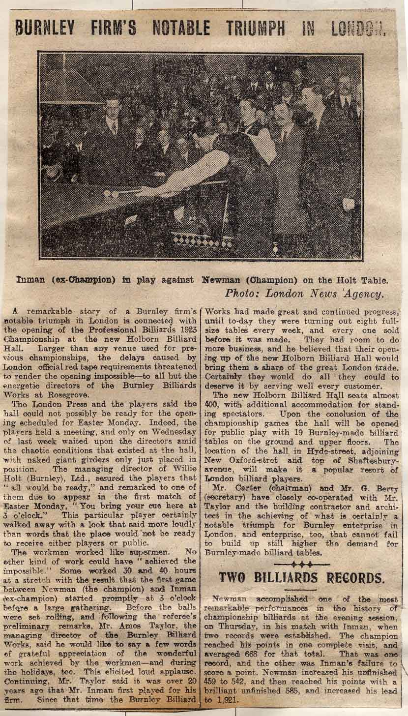 1923 Newspaper clipping World Championship