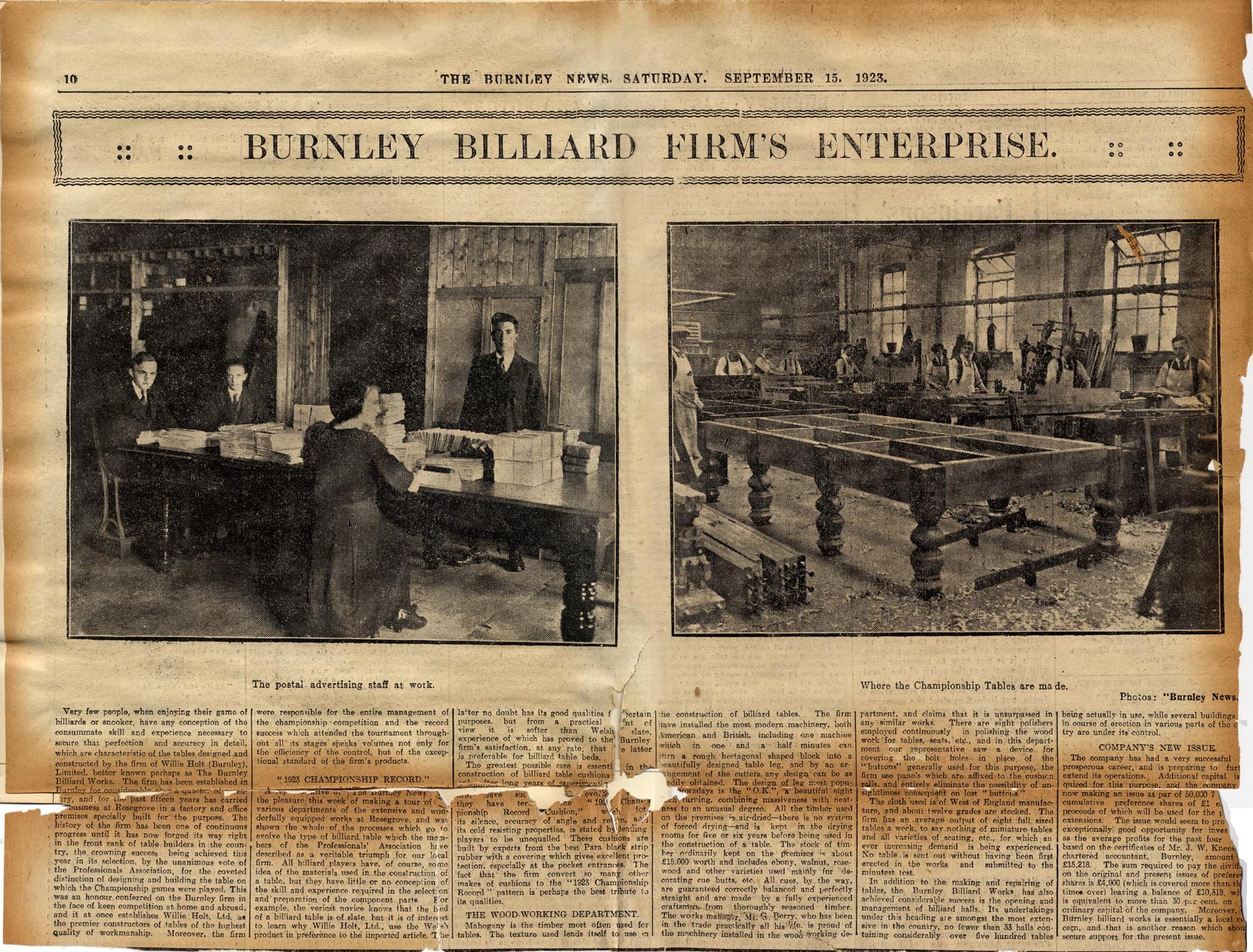 Newspaper clipping 1923 Burnley News